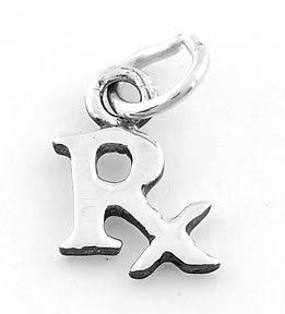 STERLING SILVER RX SYMBOL CHARM/PENDANT