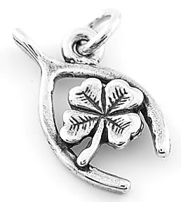 STERLING SILVER LUCKY WISHBONE W/ LUCKY SHAMROCK CHARM/PENDANT