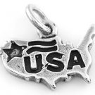 STERLING SILVER USA MAP CHARM/PENDANT