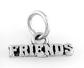 "STERLING SILVER FRIENDS CHARM WITH 16"" BOX CHAIN"