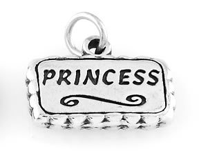 """STERLING SILVER FANCY PRINCESS CHARM WITH 16"""" BOX CHAIN"""