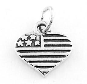 STERLING SILVER U.S.A. HEART CHARM/PENDANT