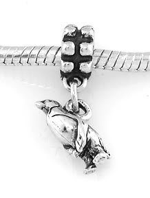STERLING SILVER DANGLING PENGUIN EUROPEAN STYLE BEAD