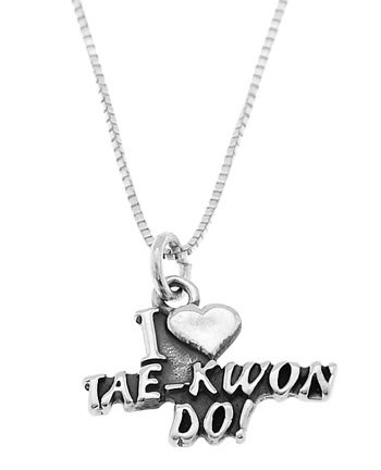 STERLING SILVER I LOVE (HEART) TAE KWON DO CHARM WITH 16 inch BOX CHAIN NECKLACE