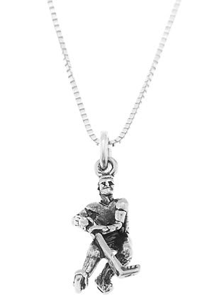 STERLING SILVER HOCKEY PLAYER CHARM WITH 16 INCH BOX CHAIN NECKLACE