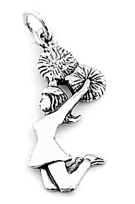 STERLING SILVER JUMPING CHEERLEADER CHARM/ PENDANT