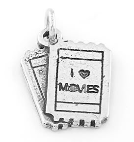 STERLING SILVER I LOVE MOVIES (TICKET) CHARM/ PENDANT