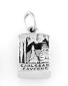 "STERLING SILVER CARLSBAD CAVERN CHARM W/ 16"" BOX CHAIN"