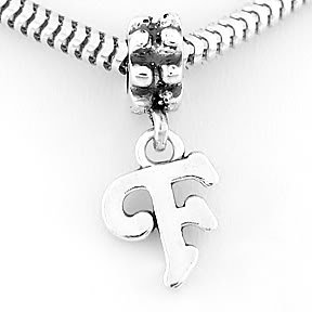 STERLING SILVER DANGLING FANCY LETTER F EUROPEAN BEAD