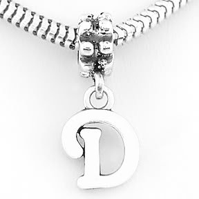 STERLING SILVER DANGLING FANCY LETTER D EUROPEAN BEAD