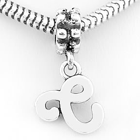 STERLING SILVER DANGLING FANCY LETTER C EUROPEAN BEAD