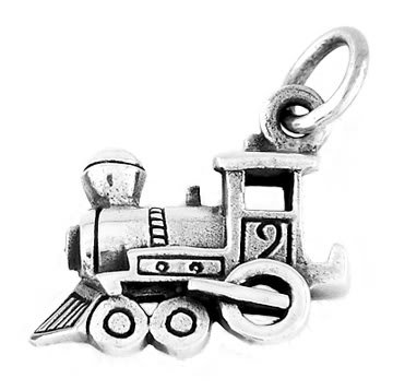 STERLING SILVER SMALL TRAIN ENGINE CHARM/PENDANT