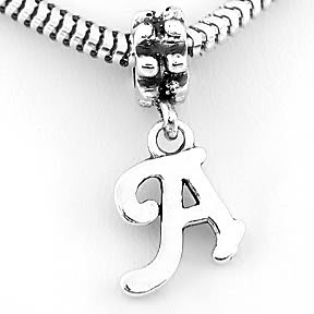 STERLING SILVER DANGLING FANCY LETTER A EUROPEAN BEAD