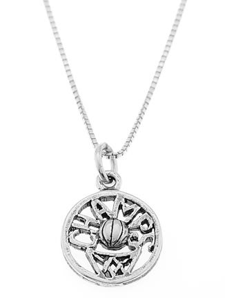STERLING SILVER CUT OUT DISC BASKETBALL CHAMPS CHARM WITH 16 inch BOX CHAIN NECKLACE