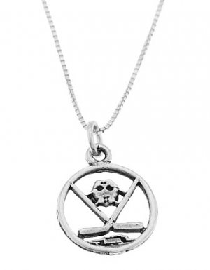 STERLING SILVER DISC CUT OUT HOCKEY MASK AND STICK CHARM WITH 16 inch BOX CHAIN NECKLACE