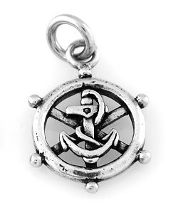 "STERLING SILVER CAPTAIN WHEEL & ANCHOR CHARM WITH 16"" BOX CHAIN"