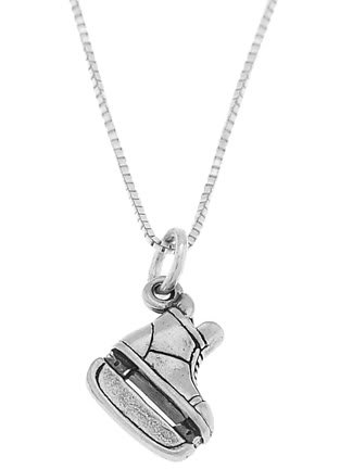STERLING SILVER HOCKEY PLAYER'S ICE SKATE CHARM WITH 16 INCH BOX CHAIN NECKLACE