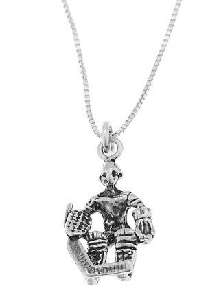 STERLING SILVER GOALIE HOCKEY PLAYER CHARM WITH 18 INCH BOX CHAIN NECKLACE