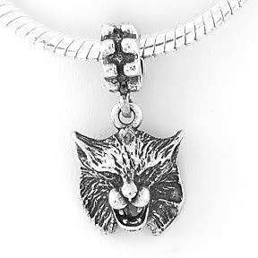 STERLING SILVER DANGLING BOBCAT EUROPEAN BEAD