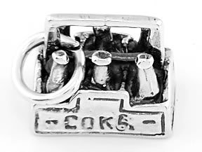 STERLING SILVER CARTON OF COKE BOTTLES CHARM/PENDANT