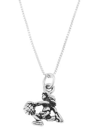 STERLING SILVER FEMALE / GIRL BASKETBALL PLAYER CHARM WITH 16 INCH BOX CHAIN NECKLACE