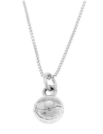 STERLING SILVER BASKETBALL CHARM WITH 16 INCH BOX CHAIN NECKLACE