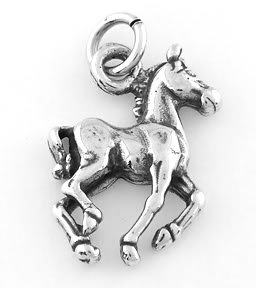 STERLING SILVER WALKING HORSE (FLAT) CHARM/PENDANT