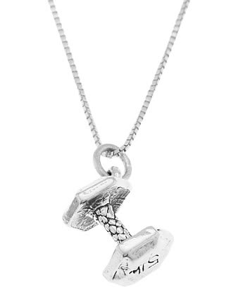 STERLING SILVER DUMBBELL WEIGHT CHARM WITH 18 INCH BOX CHAIN NECKLACE