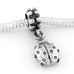STERLING SILVER DANGLING GOOD LUCK LADY BUG EUROPEAN BEAD