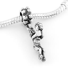 STERLING SILVER DANGLING GIRL SHOOTING BASKETBALL EUROPEAN BEAD