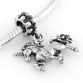 STERLING SILVER DANGLING UNICORN EUROPEAN BEAD