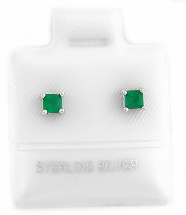 STERLING SILVER MAY BIRTHSTONE CZ CHILD POST EARRINGS 3mm