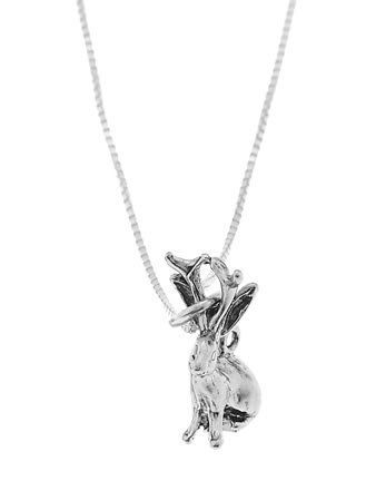 STERLING SILVER JACKALOPE / JACK RABBIT CHARM WITH 16 inch BOX CHAIN NECKLACE
