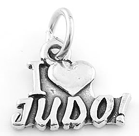 STERLING SILVER  I LOVE JUDO MARTIAL ART CHARM/ PENDANT