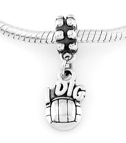 STERLING SILVER DANGLE I DIG VOLLEYBALL EUROPEAN BEAD