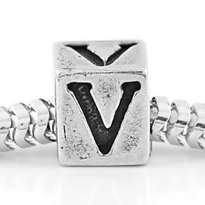 STERLING SILVER ALPHABET INITIAL V CUBE EUROPEAN BEAD