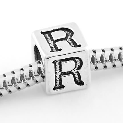 STERLING SILVER ALPHABET INITIAL R CUBE EUROPEAN BEAD