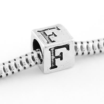 STERLING SILVER ALPHABET INITIAL F CUBE EUROPEAN BEAD