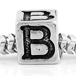 STERLING SILVER 925 CUBE INITIAL B CUBE EUROPEAN BEAD