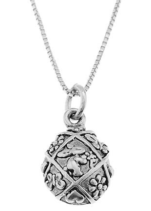 STERLING SILVER DECORATIVE EASTER EGG WITH RABBIT CHARM WITH 16 inch BOX CHAIN NECKLACE