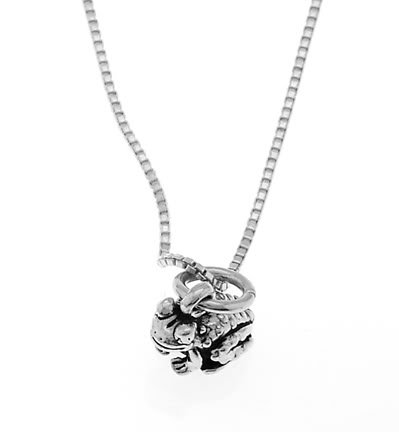 STERLING SILVER BULLFROG / FROG / TOAD FROG CHARM WITH 16 inch BOX CHAIN NECKLACE