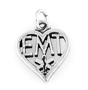 STERLING SILVER HEART EMT PARAMEDIC CHARM