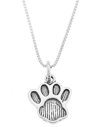 STERLING SILVER PAW PRINT / DOG PAW/ ANIMAL PAW CHARM WITH 16 inch BOX CHAIN NECKLACE