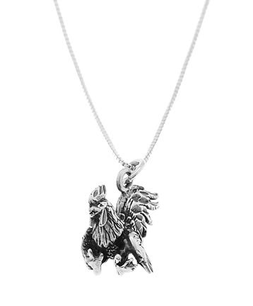STERLING SILVER ROOSTER / GAME COCK ROOSTER CHARM WITH 16 inch BOX CHAIN NECKLACE
