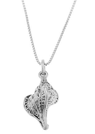 STERLING SILVER BEACH / OCEAN CONCH SHELL CHARM WITH 16 INCH BOX CHAIN NECKLACE