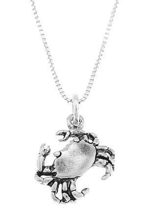 STERLING SILVER SEA / LAND CRAB WITH 16 inch BOX CHAIN NECKLACE