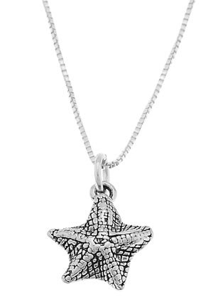 STERLING SILVER OCEAN'S STARFISH CHARM WITH 16 inch BOX CHAIN NECKLACE