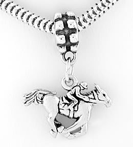 STERLING SILVER DANGLING HORSE & JOCKEY EUROPEAN BEAD