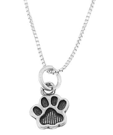 STERLING SILVER ANIMAL PAW PRINT / DOG PAW CHARM WITH 16 inch BOX CHAIN NECKLACE