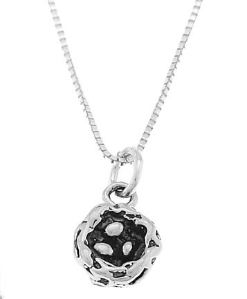 STERLING SILVER BIRD'S NEST WITH EGGS CHARM WITH 16 inch BOX CHAIN NECKLACE